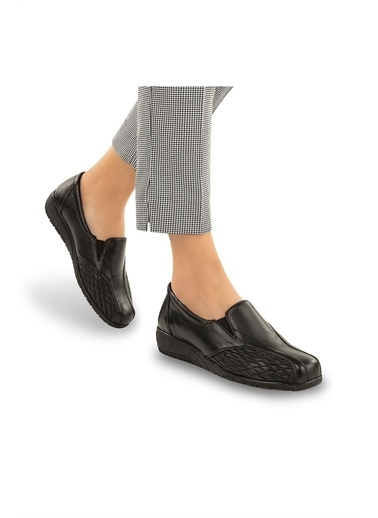 Muya Flora Anatomik Taban Esnek Hakiki Deri Kadın Ayakkabı Siyah